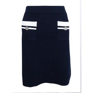 Tommy Hilfiger Women's Colorblocked A-Line Skirt - Sky Captain/Ivory
