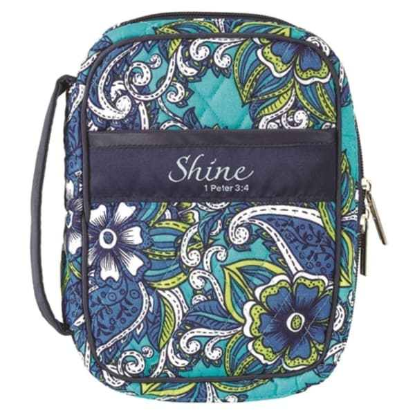 """7"""" Blue and Green Religious Themed Floral Designed Zippered Bible Cover - N/A"""