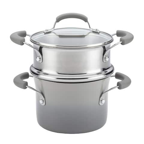Rachael Ray Classic Brights Hard Enamel Nonstick Saucepot and Steamer Insert Set with Lid, 3-Quart