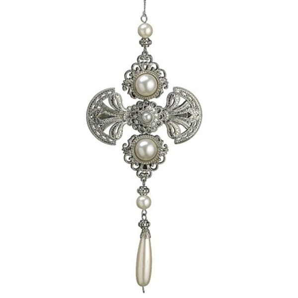 "8.5"" Glamour Time Silver Medallion Pearl Christmas Drop Ornament"