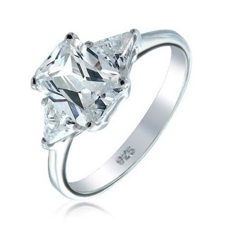 Bling Jewelry 925 Silver Emerald Cut CZ Engagement Ring with Baguette Side Stones 5vQgfHBvv