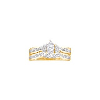 14k Yellow Gold Marquise Diamond .08 Carat Solitaire Womens Wedding Bridal Ring Set 1/2 Cttw - White