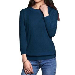 Women's 3/4 Sleeves Crewneck Slim Fit Sweater Blue (Size M)