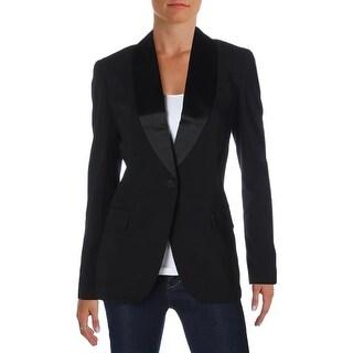 Lauren Ralph Lauren Womens One-Button Suit Jacket Wool Contrast Trim