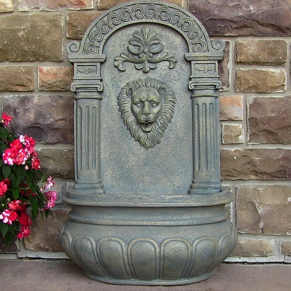 Sunnydaze Imperial Lion Outdoor Wall Fountain