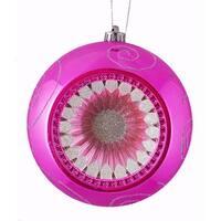 "Pink Magenta Retro Reflector Shatterproof Christmas Ball Ornament 8"" (200mm)"