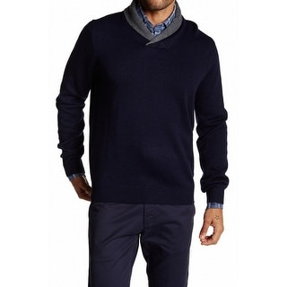 Toscano NEW Navy Blue Gray Mens Size Large L Shawl-Collar Wool Sweater