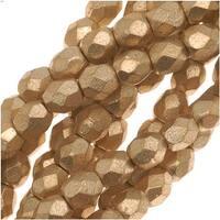 Czech Fire Polished Glass Beads 3mm Round Matte Metallic Gold (50)