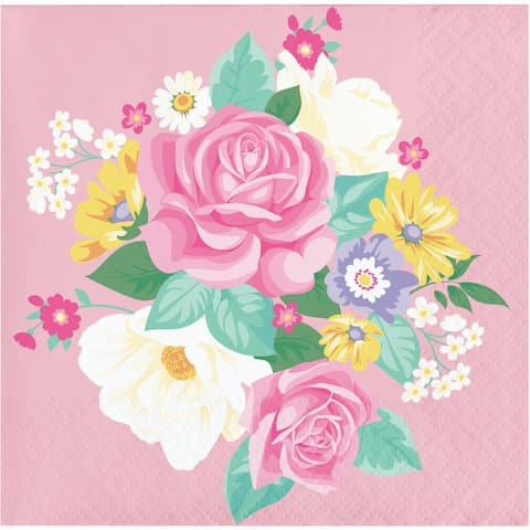 """Club Pack of 192 Pink and Green Floral Themed 2-Ply Beverage Square Napkins 5"""" - N/A"""