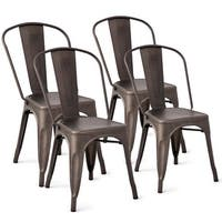 Costway Set of 4 Distressed Style Dining Side Chair Stackable Bistro Cafe Metal Copper