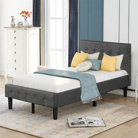 Merax Twin Upholstered Platform Bed with Headboard No Box Spring Needed