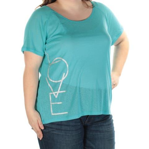 MATERIAL GIRL Womens Blue Sheer Love Short Sleeve Jewel Neck Active Wear Top Juniors Size: 2X