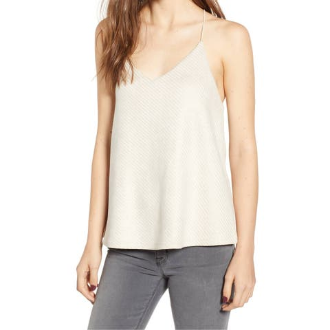 BISHOP + YOUNG White Ivory Womens Size Medium M V-Neck Tank Top