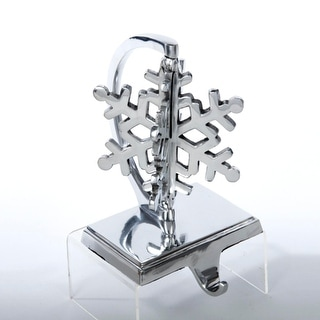 """Pack of 2 Silver Snowflake 3-D Christmas Stocking Holders 7"""""""