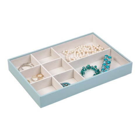 Jewelry Storage Organizer Tray with 8 Compartments without Ring Holder, Porcelain Blue
