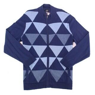 Alfani Ink Blue Mens Size 2XL Triangle Knit Full Zip Sweater