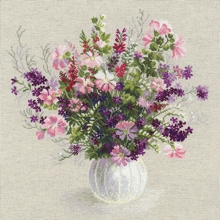 """Summer Bouquet Counted Cross Stitch Kit-19""""X19"""" 14 Count"""
