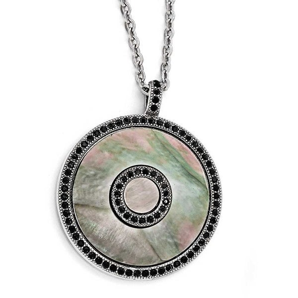 Chisel Stainless Steel Polished Black Mother of Pearl and Crystal Necklace (3 mm) - 18.25 in