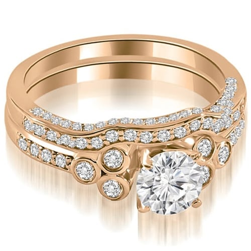 1.69 cttw. 14K Rose Gold Round Cut Diamond Bridal Set