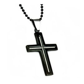 Black Stainless Steel Men's Cross Pendant - 24 inches