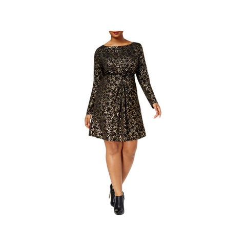 MICHAEL Michael Kors Womens Plus T-Shirt Dress Star-Foil Print Twist Front