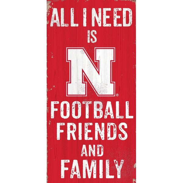 Nebraska Cornhuskers Sign Wood 6x12 Football Friends and Family Design Color. Opens flyout.