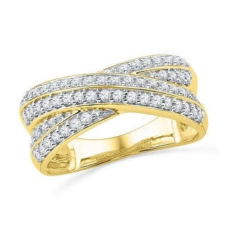 10kt Yellow Gold Womens Round Natural Diamond Crossover Band Fashion Ring 1/2 Cttw