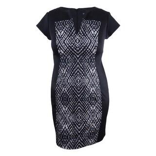 Connected Women's Petite Printed Sheath Dress (10P, Black) - Black - 10P