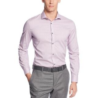 Calvin Klein CK Fine Checked Non Iron Shirt XXL 2XL Purple Plum