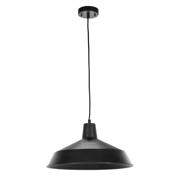 """Globe Electric 65155 1-Light 16-1/8"""" Wide Pendant with Black Shade - n/a"""