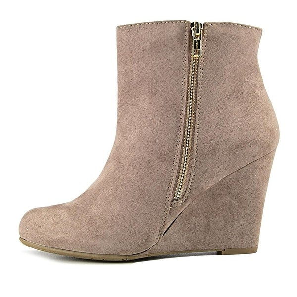Report Womens RUSSI Fabric Almond Toe Ankle Fashion Boots, TAUPE, Size 10.0