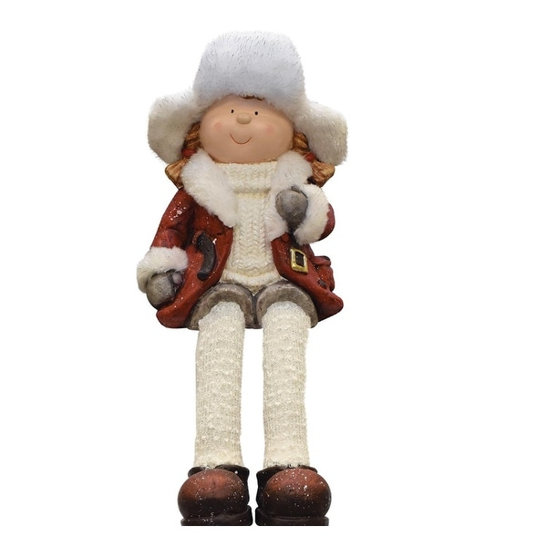 """19"""" Sitting Young Girl in Faux Fur Trapper Hat Christmas Figure - RED"""