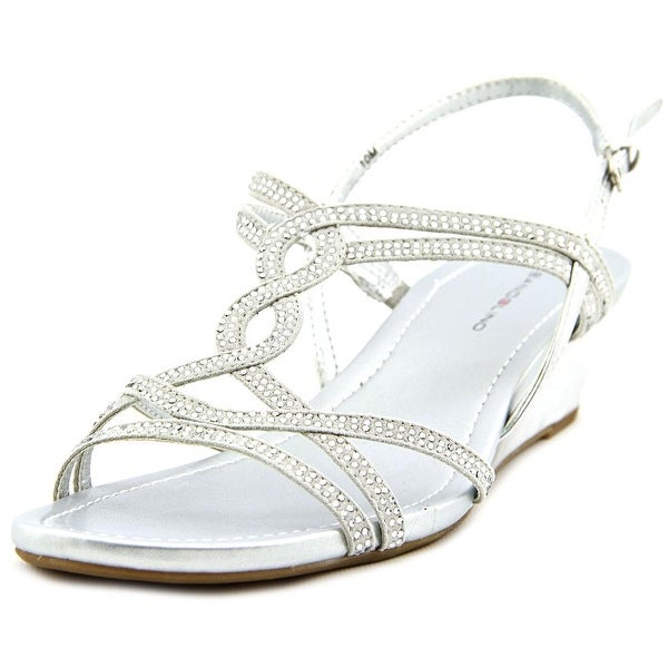 Bandolino Gilnora Women Open Toe Canvas Silver Wedge Sandal