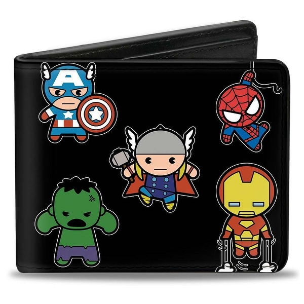 Marvel Universe Kawaii Avengers Action Poses Front View + Back View Bi Fold Bi-Fold Wallet - One Size Fits most