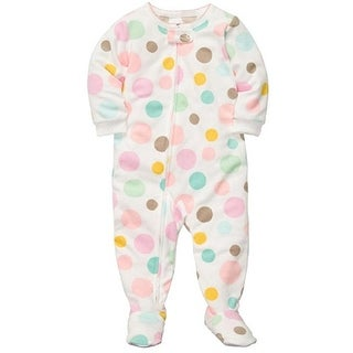 Carter's Little Girls' Bubblegum Polka Dots Fleece Footed Sleeper Pajamas
