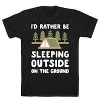 I'd Rather Be Sleeping Outside On The Ground Black Men's Cotton Tee by LookHUMAN