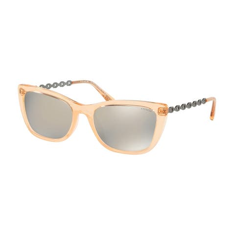 Coach HC8257U 55637U 55 Transparent Peach Woman Cat Eye Sunglasses - Pink