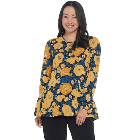 Du Jour Womens Floral Printed Woven Top with Seaming Detail Small Golden A345231