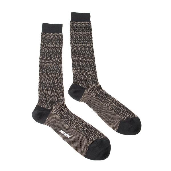 Missoni GM00CMU5239 0002 Tan/Black Chevron Knee Length Socks - M