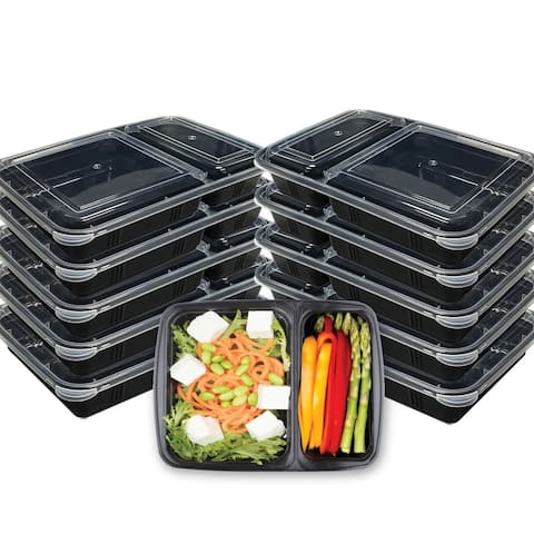 Premius 2 Compartment Meal Prep Food Containers, 4 Cups, 10-Pack