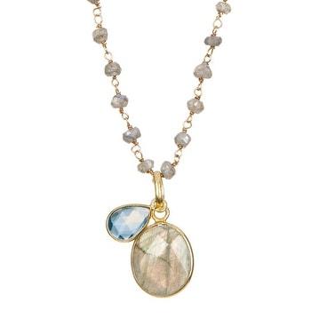 Gold Vermeil Labradorite & Blue Topaz Pendant Necklace