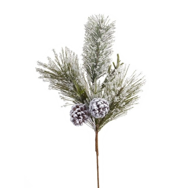 """Pack of 12 Attractive Green and Brown Frosted Pine Branches 21""""H"""