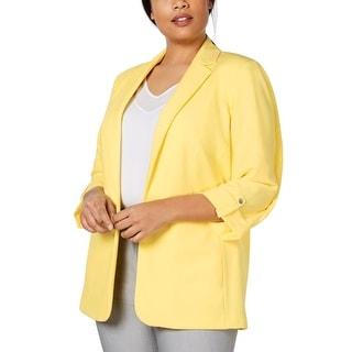 Calvin Klein Women's Jacket Bright Yellow Size 3X Plus Notch Collar