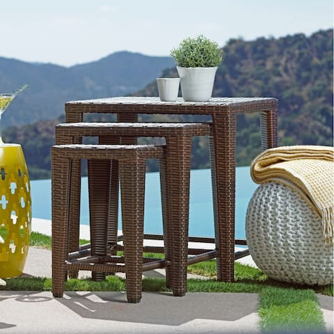 Rhonn 3-piece Brown Wicker Outdoor Nesting Table Set by Havenside Home