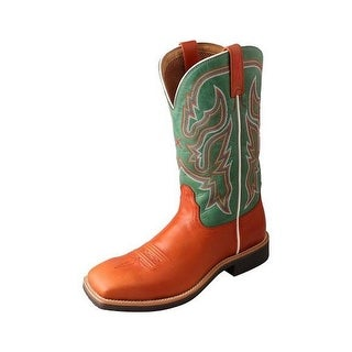 Twisted X Western Boots Womens Top Hand Rubber Cognac Green