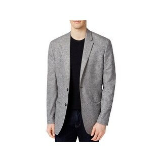 Calvin Klein Mens Two-Button Blazer Linen Single Vent