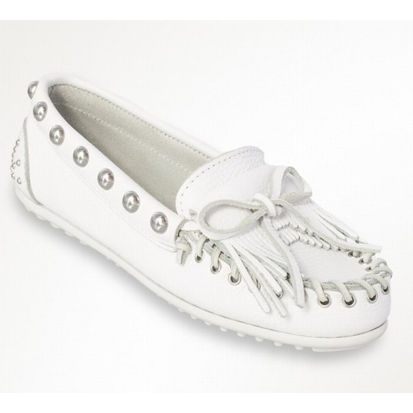 Rebecca Minkoff NEW White Leather Studded Kilty Women's 6M Moccasin Shoes
