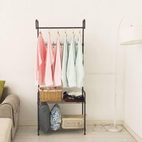 2-Tier Adjustable Garment Rack Entryway Closet Rack