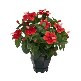 Nearly Natural Hibiscus with Black Hexagon Vase Silk Plant Red