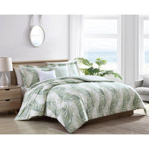 Tommy Bahama Kauai Cotton Green 5 Piece Comforter Bonus Set